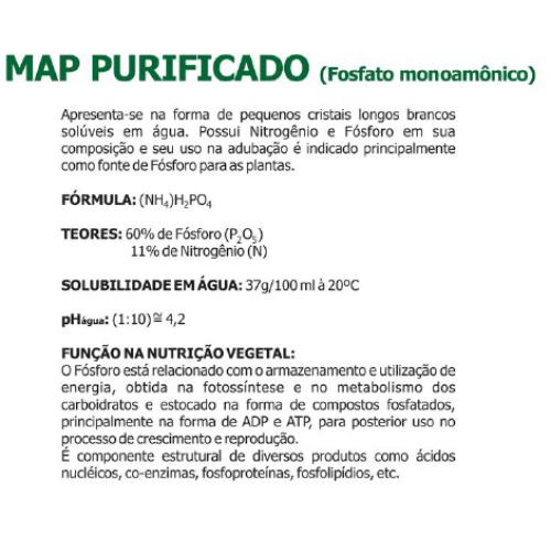 MAP Purificado Puro Pó Solúvel 5 Kg - 60% de Fósforo+11% de Nitrogênio