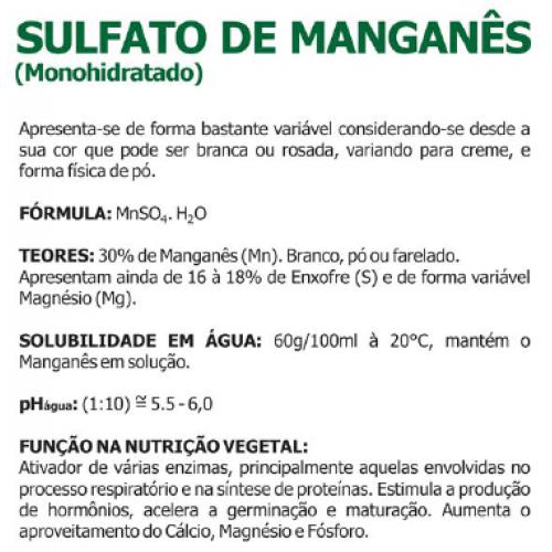 Sulfato de Manganês Puro Pó Solúvel 5 Kg - 30% de Manganês+16% de Enxofre