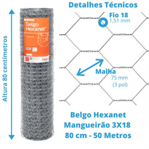 Tela Mangueirão Belgo Hexanet 3X18 0,80 - 50 Metros