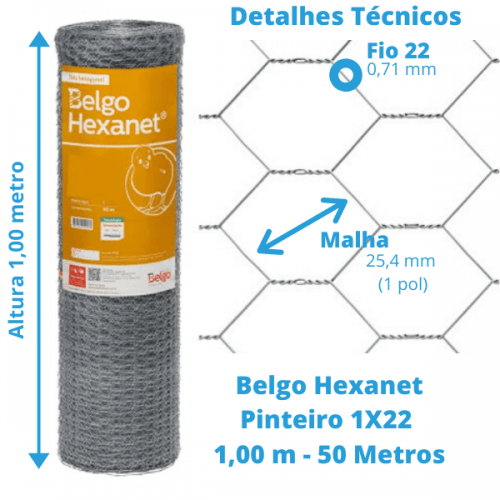 Tela Pinteiro Belgo Hexanet 1X22 1,00 - 50 Metros