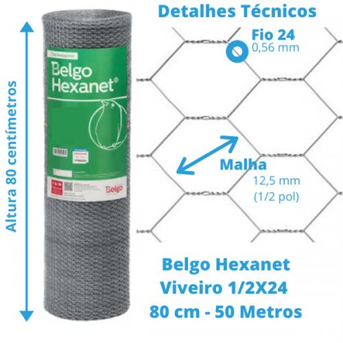 Tela Viveiro Belgo Hexanet  1/2X24 0,80 - 50 Metros