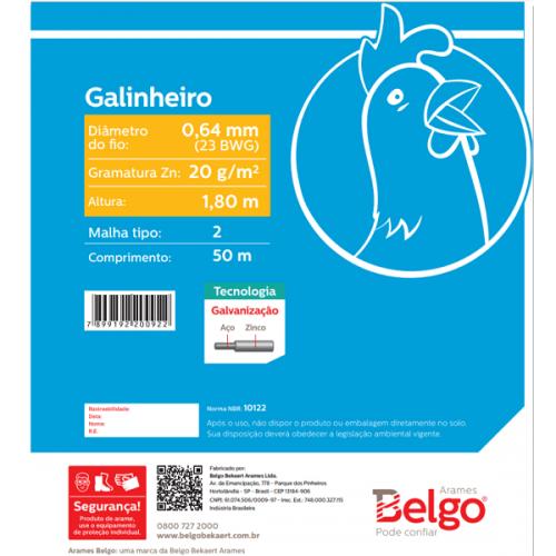Tela Galinheiro Belgo Hexanet 2X23 1,80 - 50 Metros
