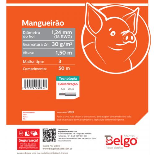 Tela Mangueirão Belgo Hexanet 3X18 1,50 - 50 Metros