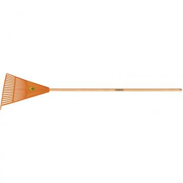Vassoura com 18 Dentes Tramontina em Polipropileno Laranja com Cabo de Madeira 120 cm