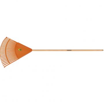 Vassoura com 26 Dentes Tramontina em Polipropileno Laranja com Cabo de Madeira 120 cm